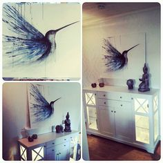 Acrylic painting of a humming bird