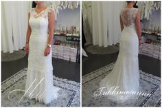 All lace mermaid wedding dress with tattoo effect back