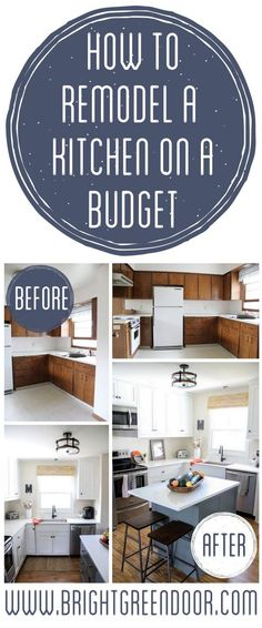 Remodel a Kitchen on a Budget Kitchen Remodel on a Budget, Affordable Kitchen Renovation, Modern Tuxedo Kitchen, Two Tone Kitchen www.BrightGreenDoor.com