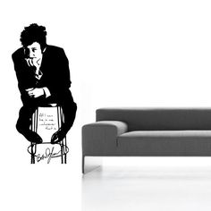 Bob Dylan Life-sized with Signature and Quotewall decal. $34.99, via Etsy.