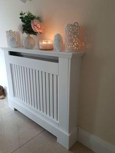 My radiator cover 😍 hallway decorating White Radiator Covers, Diy Radiator Cover, Radiator Cap, Home Radiators, Flur Design, Living Room Decor, Bedroom Decor, Hallway Designs, Home Decor