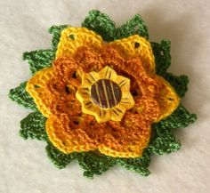 Golden Meadow Flower Brooch Crochet Thread Pin by JNOriginals
