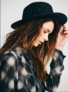 Free People Hat Topanga black distressed leather Rancher Hat S NWOT #Henschel #RancherHat