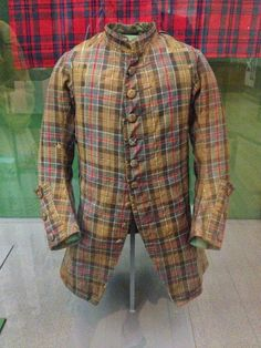 Glasgow museum. Man's coat. Recent research by Peter MacDonald, an independent tartan historian, has identified this coat as the one owned by the Scottish artist Gourlay Steell (1819-1894) during the 19th century. Prior to Steell's ownership it was said to have been worn by a rider in Bonnie Prince Charlie's army at the Battle of Culloden in 1746.
