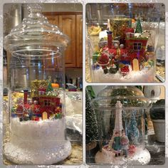 Miniature christmas snow globes in apothecary jars #christmas #DIY