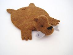 Bear Rug Coaster with Fish copper with bluegray fish by dandyrions, $18.00