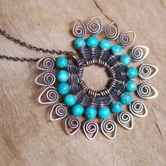 NeroliHandmade: Peacock Tale Necklace with Turquoise in Copper