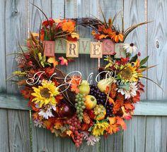 Fall Harvest Cornucopia Sunflower Wreath, by IrishGirlsWreaths on Etsy, $215.00