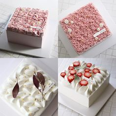 Cake Decorating Piping, Creative Cake Decorating, Creative Cakes, Asian Cake, Cake Decorating For Beginners, Individual Cakes, Square Cakes, Fancy Desserts, Crazy Cakes