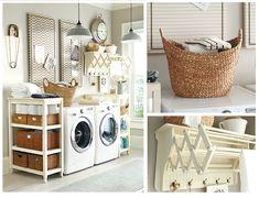 incredible laundry storage, accordion drying rack Ballard Designs  |   Provence Laundry Room