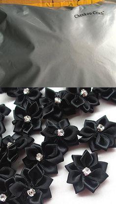 Black 40pcs Ribbon Flowers Bows Rhinestone Wedding Ornament Appliques