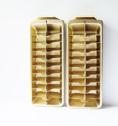 Frigidaire Gold Aluminum Ice Cube Trays  Mid Century by jarmfarm