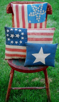 Distressed Handmade 4th of July Pillows