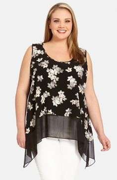 Free shipping and returns on Karen Kane Sheer Hem Print Tank (Plus Size) at Nordstrom.com. A wide panel of sheer chiffon accentuates the pretty asymmetrical styling of an airy woven tank detailed with a deeply scooped neckline and patterned in a delicate floral print.