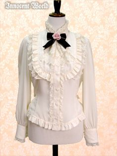 Innocent World's Blouse with Rose Jabot in Beige