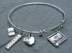 Bangle Bracelet / Teacher Gift / Expandable Charm by Pammytail