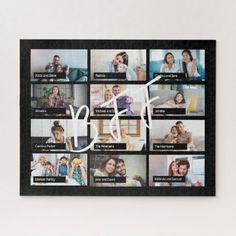 Best friends 12 custom photo collage BFF script Jigsaw Puzzle