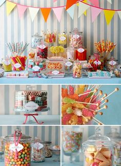 Wedding dessert tables and images by Amy Atlas Events, multicolored old fashioned candy shop theme