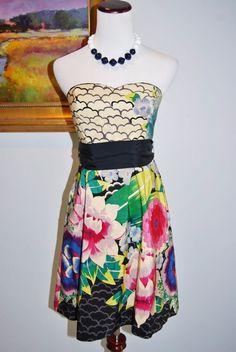 ANTHROPOLOGIE Moulinette Soeurs Painted Lotus Strapless Dress Floral  sz 0  #Anthropologie #Sundress
