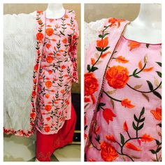 Light Pink And Red Colored Designer Thread Embroidered Suit With Cotton Dupatta