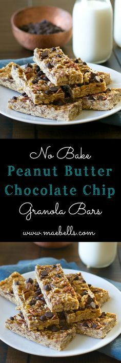 easy No Bake Peanut Butter Chocolate Chip Granola Bars. These bars ...