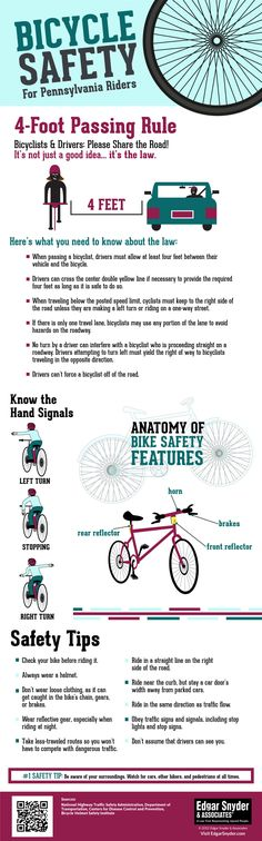 In PA, drivers and cyclists must observe the 4-foot passing rule. Click through to see more bicycle tips and Pennsylvania laws on this bike safety infographic.