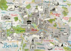 Map of Berlin Germany, quirky Art Print by TheresaGrieben on Etsy Berlin…