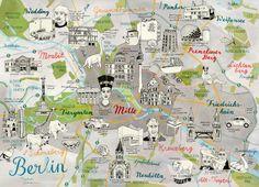 Map of Berlin Germany, quirky Art Print by TheresaGrieben on Etsy Berlin illustrierter Stadtplan Landkarte