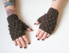 Mink Brown Fingerless Crochet Wrist Warmer Gloves by luvbuzz, $25.00