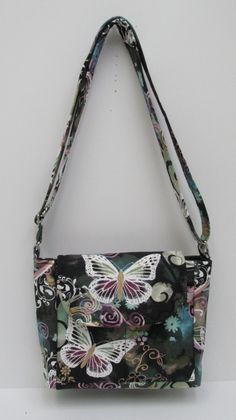 Butterfly Multi Gray Purse, Mid Size Bag, Shoulder Bag, Cross Body Bag, Slim & Trim Bag, Sling Shoulder Purse, Kindle Bag, Fabric Bag by JustBeautiful161 on Etsy