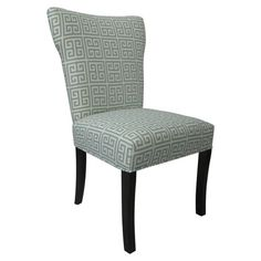 $232.95  For my study as an extra chair for someone else to use computer.   Showcasing an elegantly flared back and light blue Greek key motif, this chic wood side chair is perfect nestled in your living room reading nook or beside y...