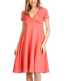 Coral Empire-Waist Surplice Dress