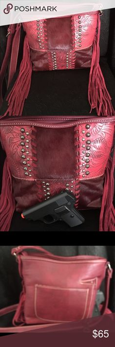 NWT Montana West Concealed Carry RED Cross Body!! BRAND NEW W/TAGS Montana West CCW Cross Body Bag! Fringe, Tooled Leather, gun Pocket on Exterior Back of Bag! Montana West Bags Crossbody Bags