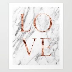 Marble and rose gold LOVE print and other products.