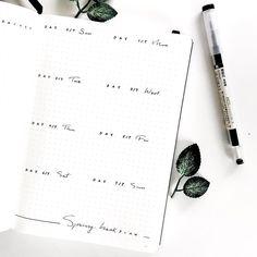 Bullet journal weekly layout, one paged bullet journal weekly layout, minimalist bullet journal weekly layout.   @merakumi