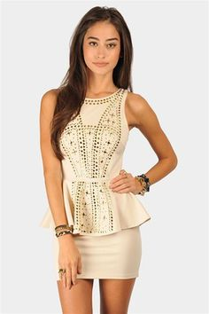 Akila Peplum Dress - Beige at Necessary Clothing