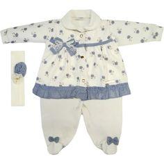 Macacão Bebê Menina em Plush e Soft com Faixa de Cabelo Cru - Sonho Mágico :: 764 Kids | Roupa bebê e infantil
