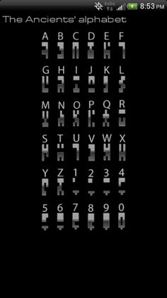 Stargates ancient alphabet.  Awesome                                                                                                                                                                                 More