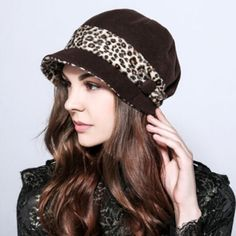 Leopard beret winter hats for women wool
