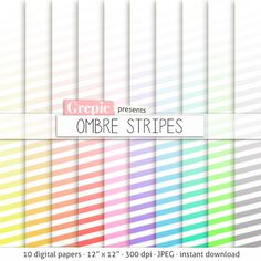 """Ombre stripes digital paper: """"OMBRE STRIPES"""" rainbow gradient lines striped patterns going gradually from white to pastel to bright colors #digitalpaper #scrapbooking"""