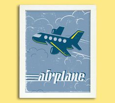 Retro Airplane Poster  8 x 10 Digital  by Silver Lining Printing on Etsy