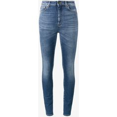 Saint Laurent Blue high waisted skinny jeans ($450) ❤ liked on Polyvore featuring jeans, pants, blue, high waisted denim jeans, super skinny jeans, high rise jeans, high-waisted jeans and faded blue jeans