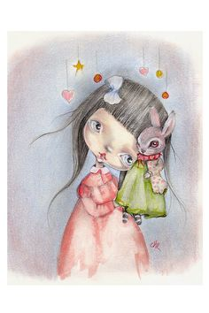 Original painting mixed media on paper..Look at by ppinkydollsart
