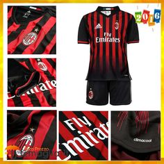 e158705bdd41eb Personalizza Maglie Calcio AC Milan Bambino Prima Rosso/Nero 2016 2017  Ufficiale