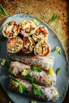 Honey Mango Sesame Chicken Salad Fresh Rolls from HeatherChristo.com