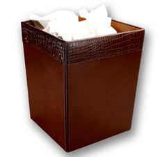 Brown Crocodile Embossed Leather Waste Basket - Leather office Accessories