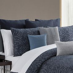 A deeply rich indigo blue abstract geometric jacquard, reversing to a indigo blue percale cotton. Set includes two standard shams. Masculine Bedding, Boat Bed, Waterford Bedding, Blue Comforter Sets, Linen Bedding, Bed Linen, Bedding Basics, Beds For Sale, Luxury Bedding Sets