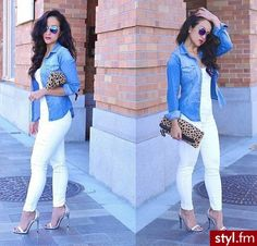 All white set off by denim chambray top