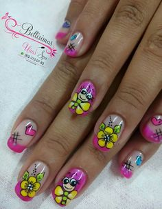 Our social Trends Flower Nail Designs, French Nail Designs, Best Nail Art Designs, Cute Nail Art, Gel Nail Art, Nail Art Design 2017, Eyeliner, Nailart, Bridal Nail Art