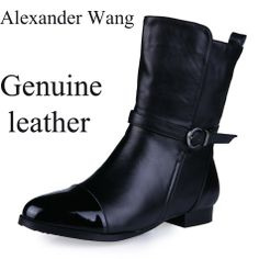 Brand Women genuine leather buckle ankle boots  motorcycle boots Round low somersault layer of leather Short Boots $76.90